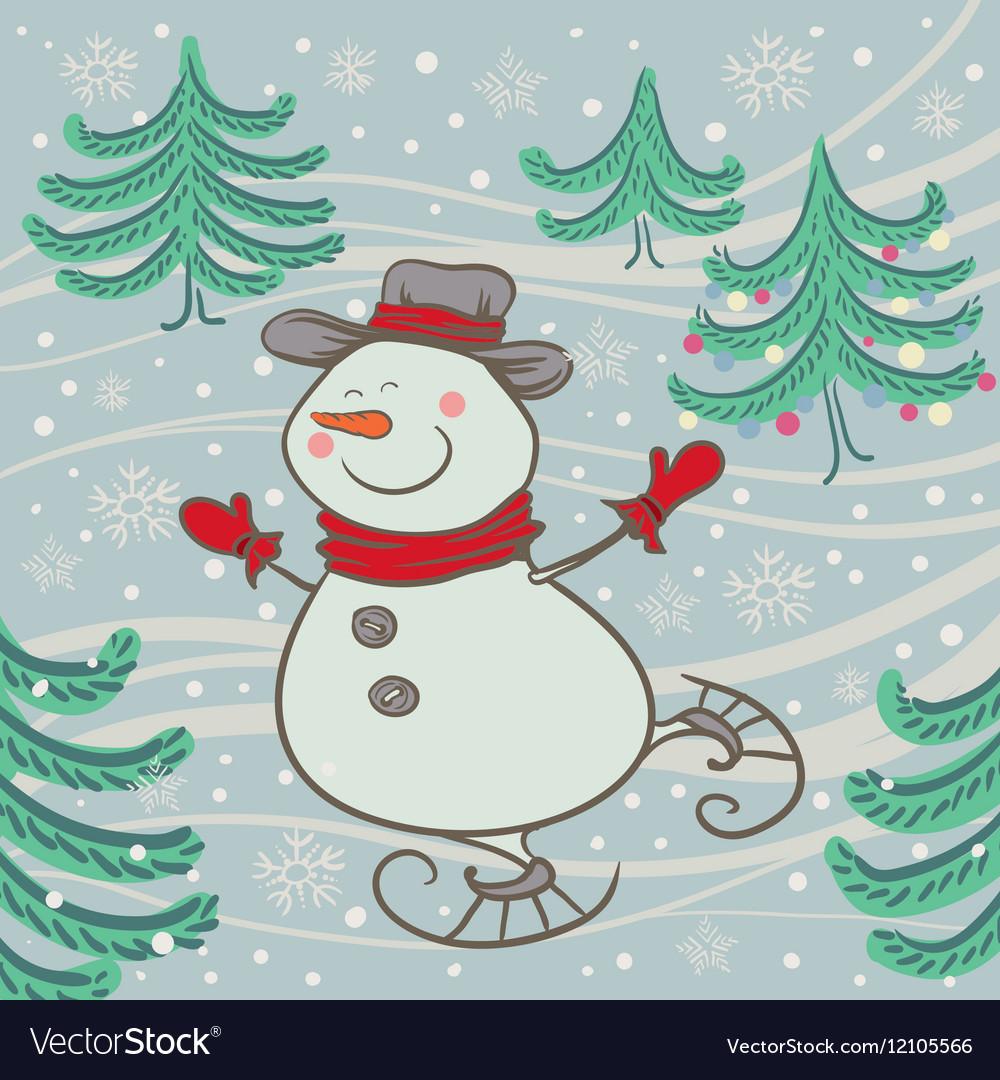 Cheerful snowman skates