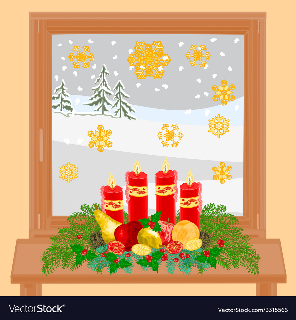 Christmas decoration window with Advent wreath