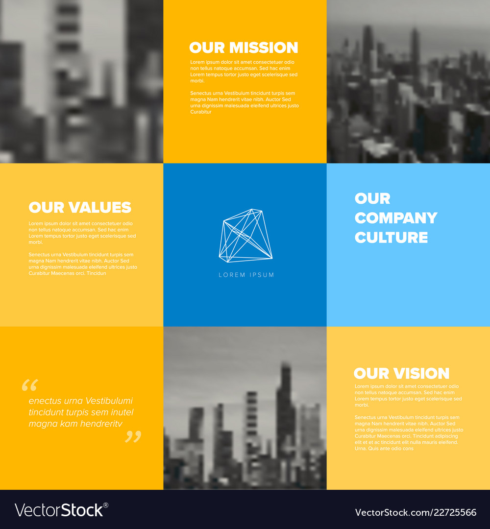 Company Mission Vision Values Template Royalty Free Vector