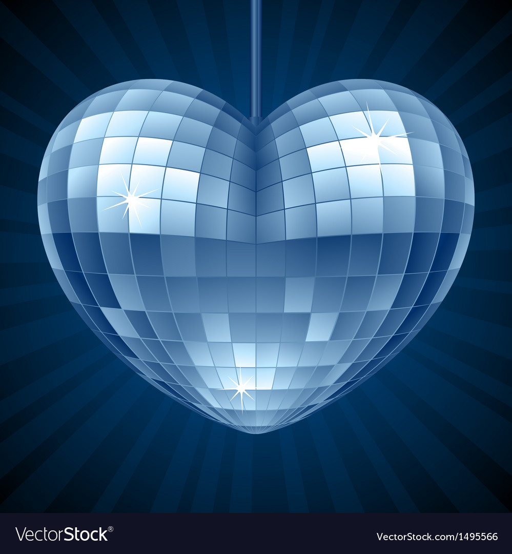 Disco Heart Blue mirror disco ball