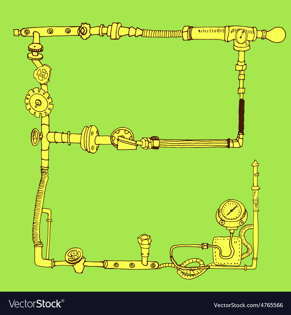 Hand-drawn frame decorative style steam punk vector image