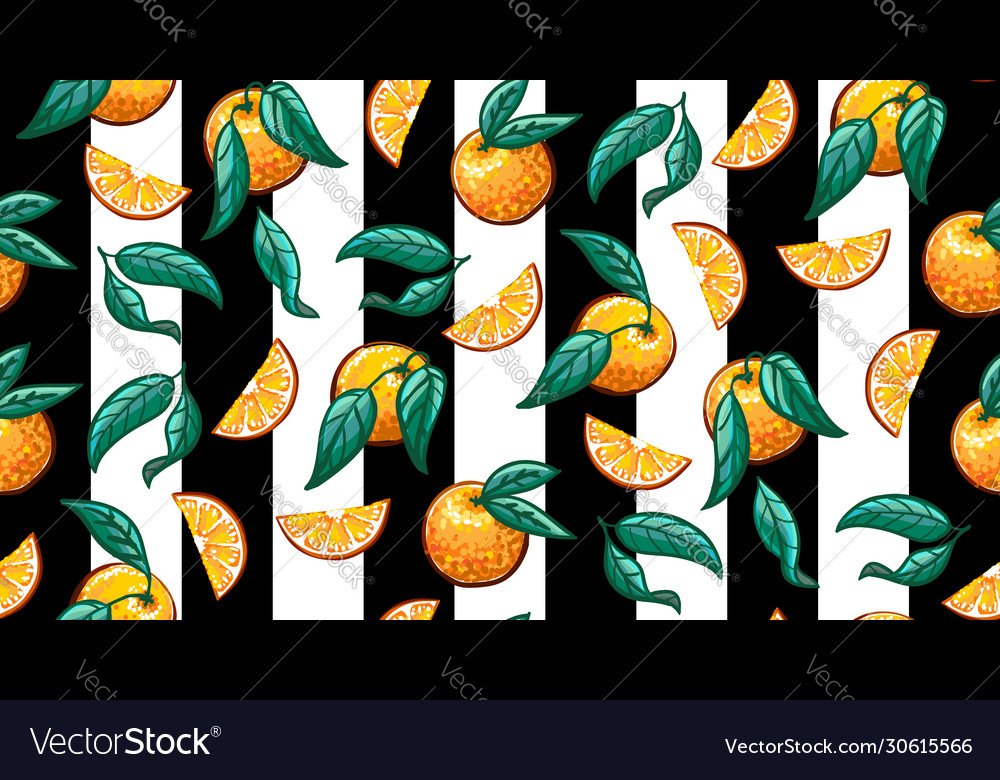 Hand-drawn tropical seamless pattern with branch