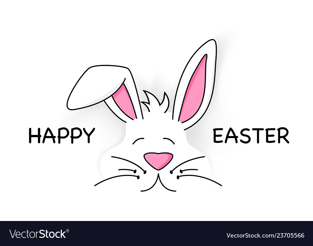 Happy easter with cute white bunny