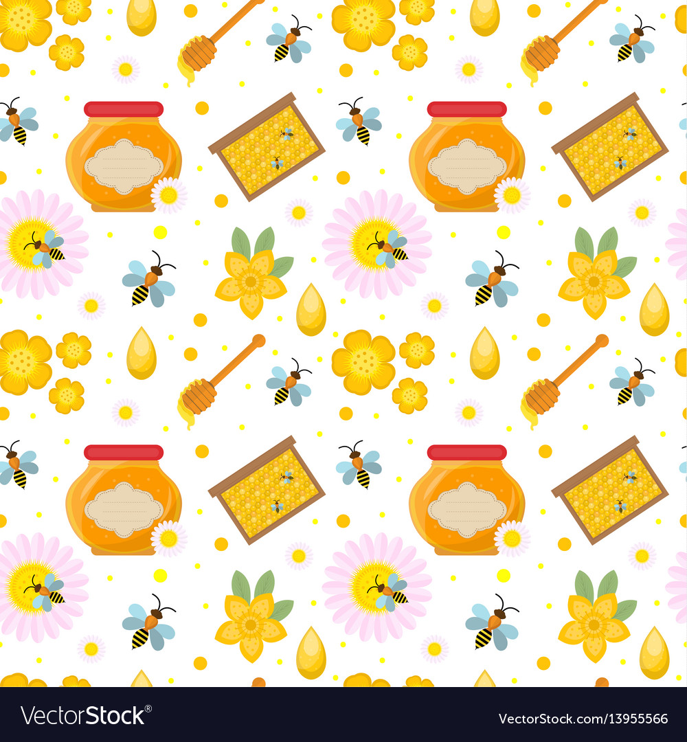 Honey seamless pattern beekeeping endless