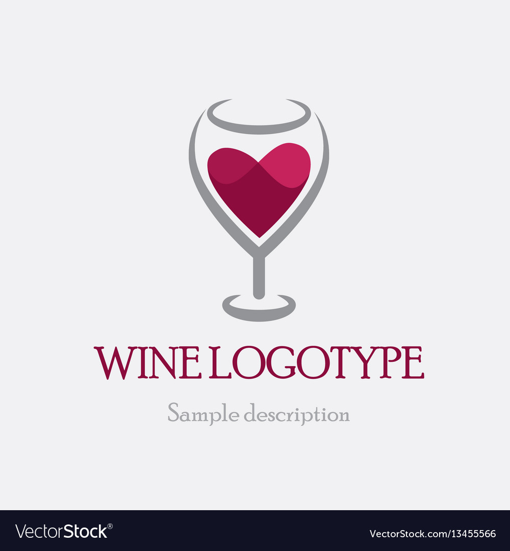 Logo glass of red wine on a
