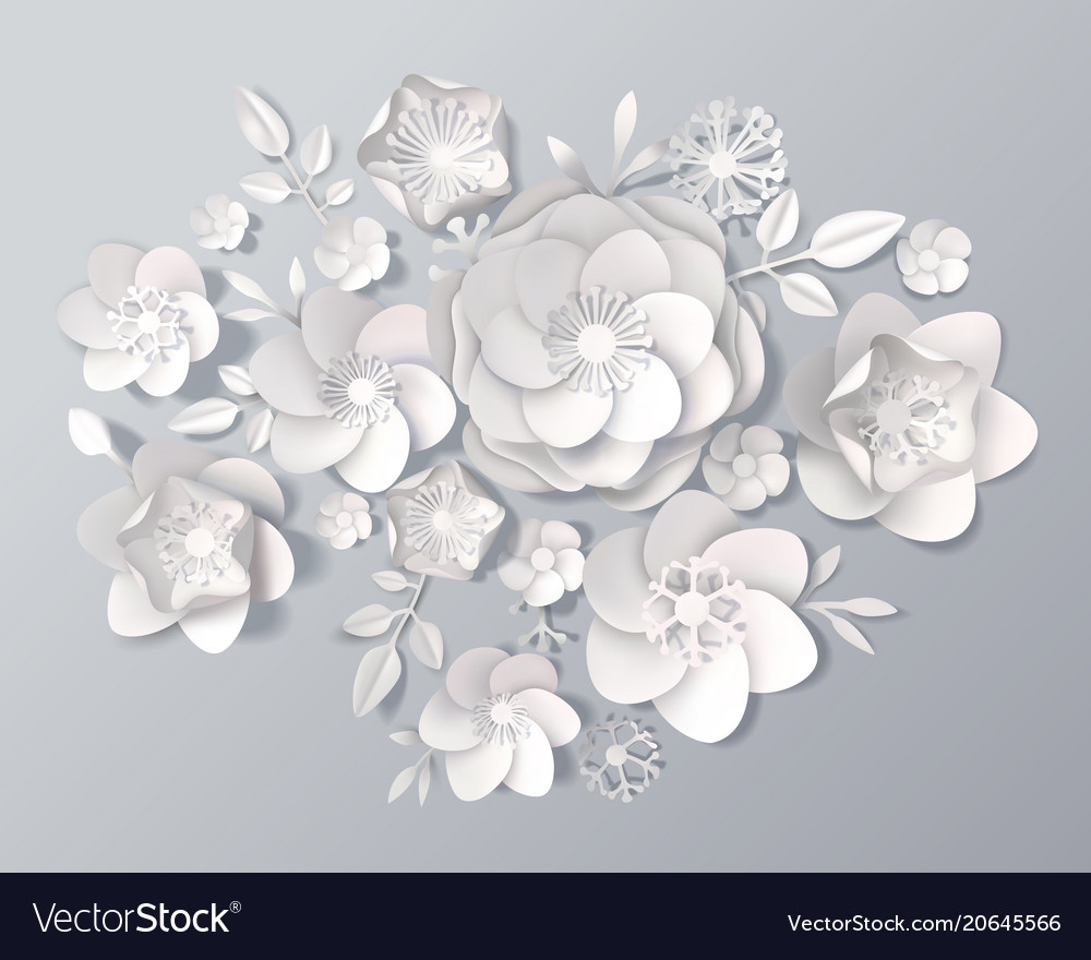Realistic White Paper Flowers Set Royalty Free Vector Image