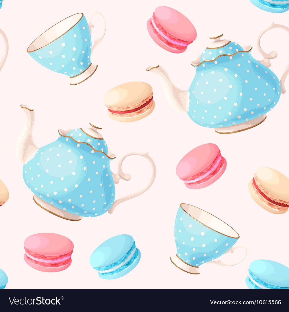 Seamless pattern with tea pots and cups