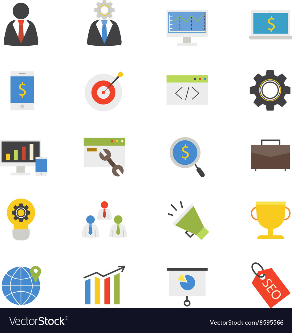 SEO Development Flat Icons color