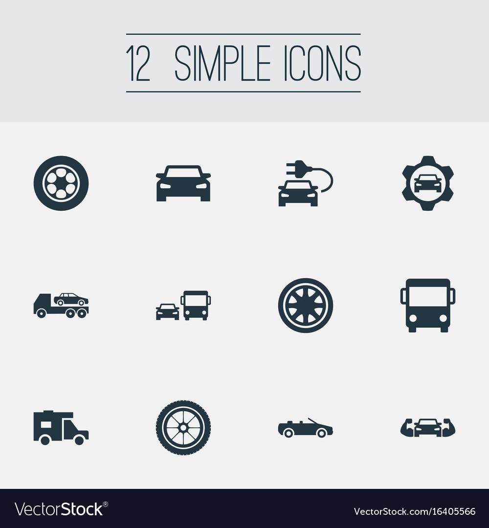 Set of simple automobile icons