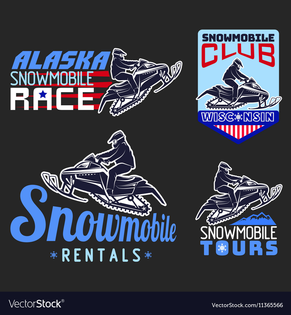 Set of winter snowmobile emblems badges and icons