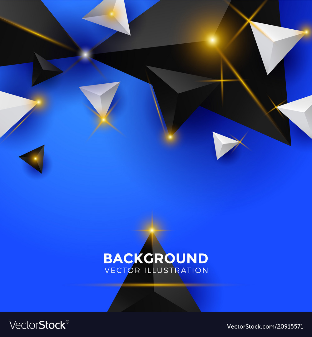 Abstract white blue and black triangle background