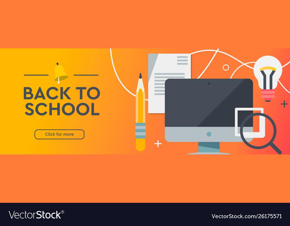 Back to school education online learning flat