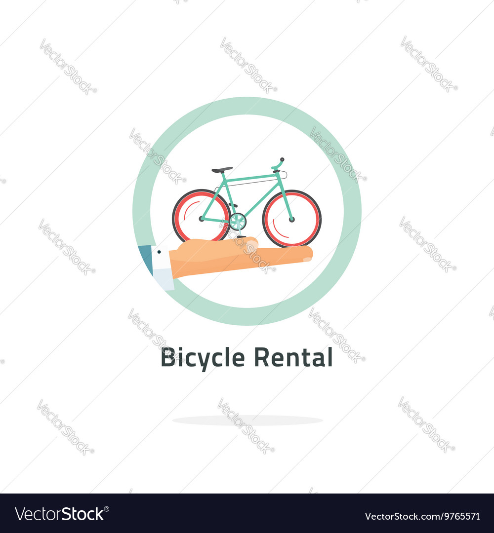 Bycicle rent badge rental icon logo