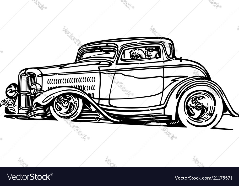 Classic retro hot-rod cars isolated on