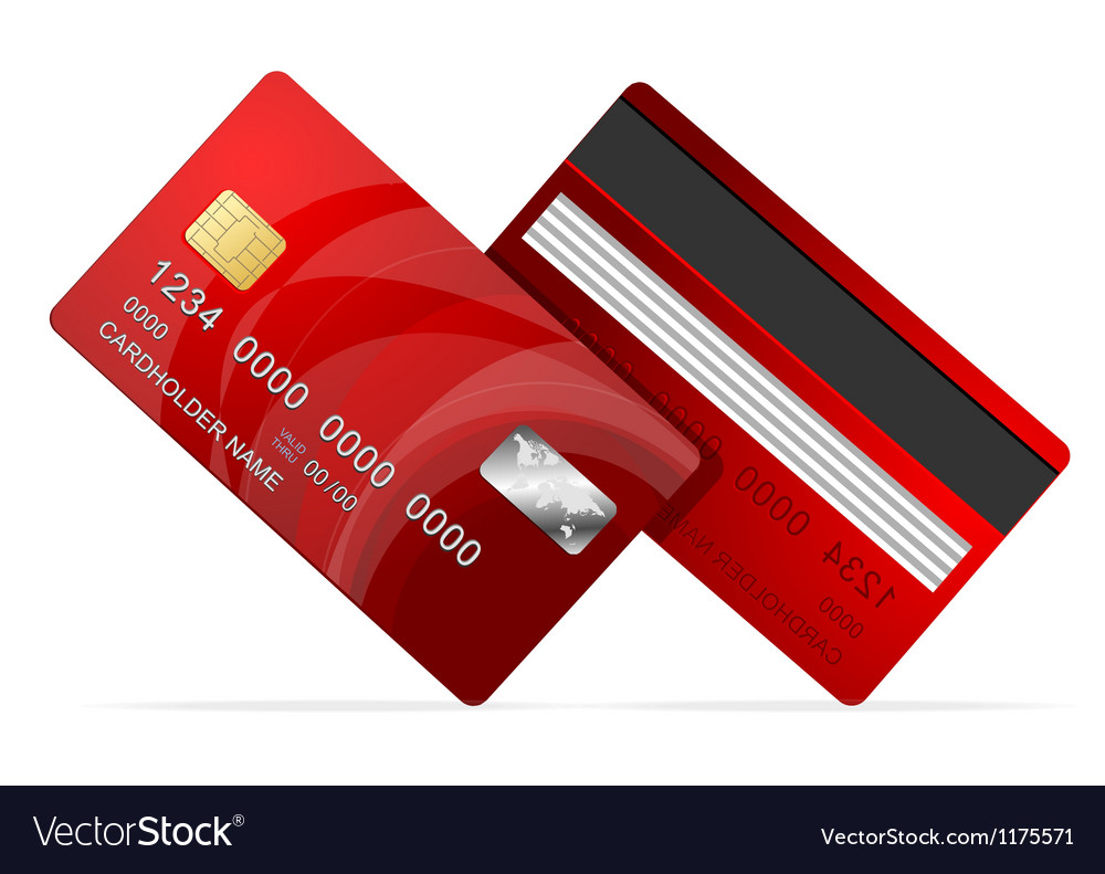 Credit Card red icon Isolated on white vector image