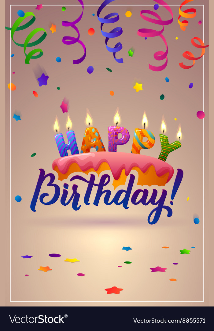 Happy birthday greeting card cake with candles vector image m4hsunfo