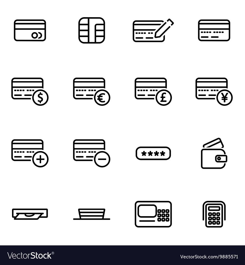 Line credit card icon set