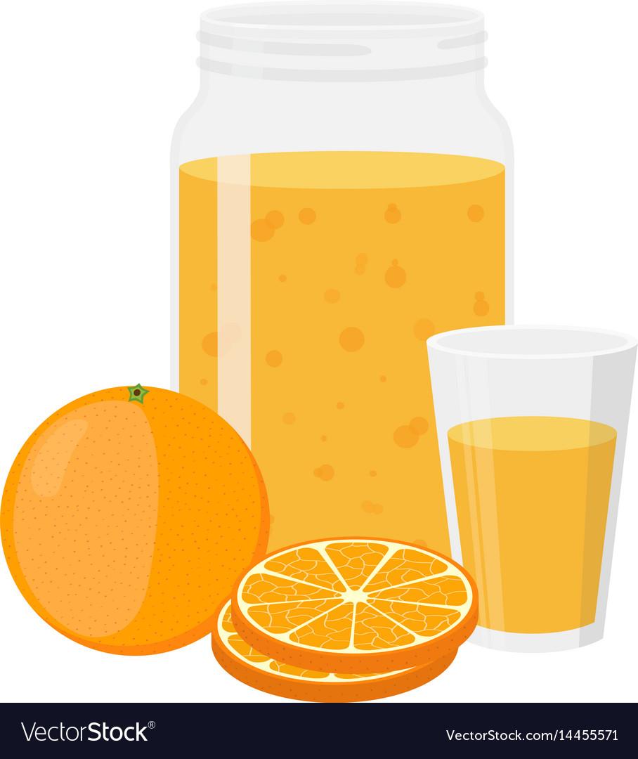 Orange juice orange and slice cartoon flat style