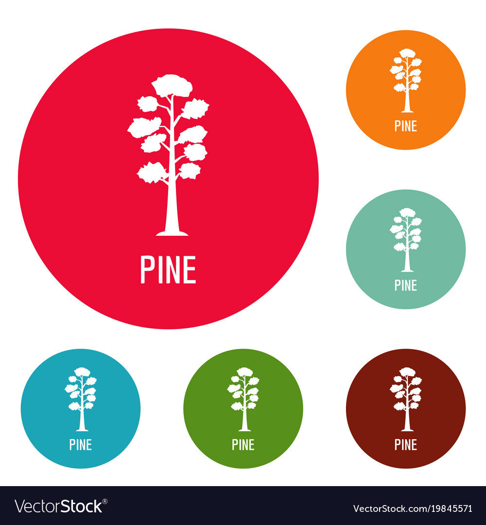Pine tree icons circle set