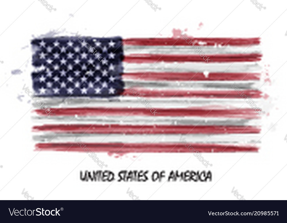Realistic watercolor painting flag of usa