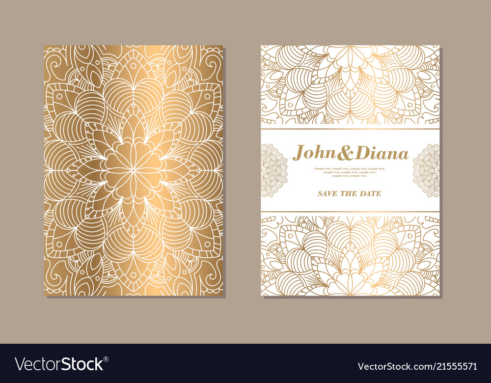 Save The Date Invitation Card Design In Henna Vector Image