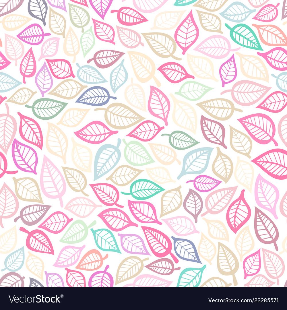 Seamless pattern with pink leaf botanical