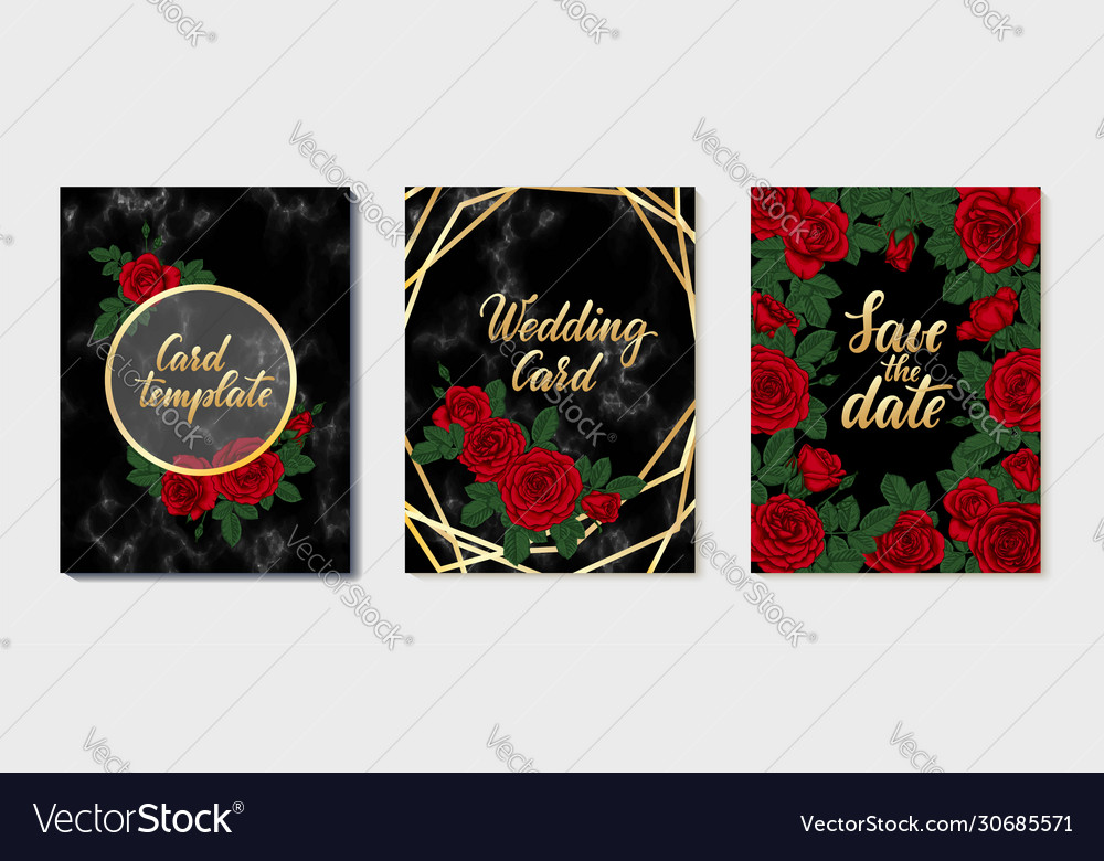 Set luxury wedding invitation card with gold