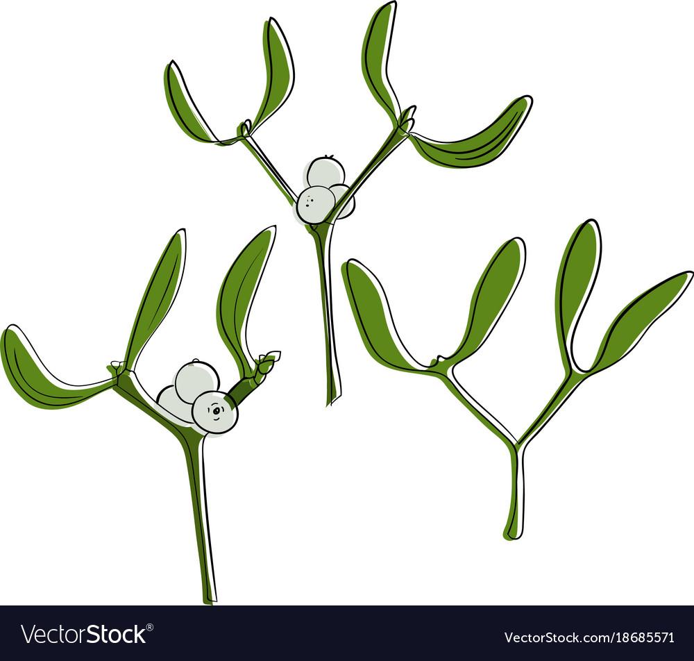 Three color mistletoes christmas hand drawn