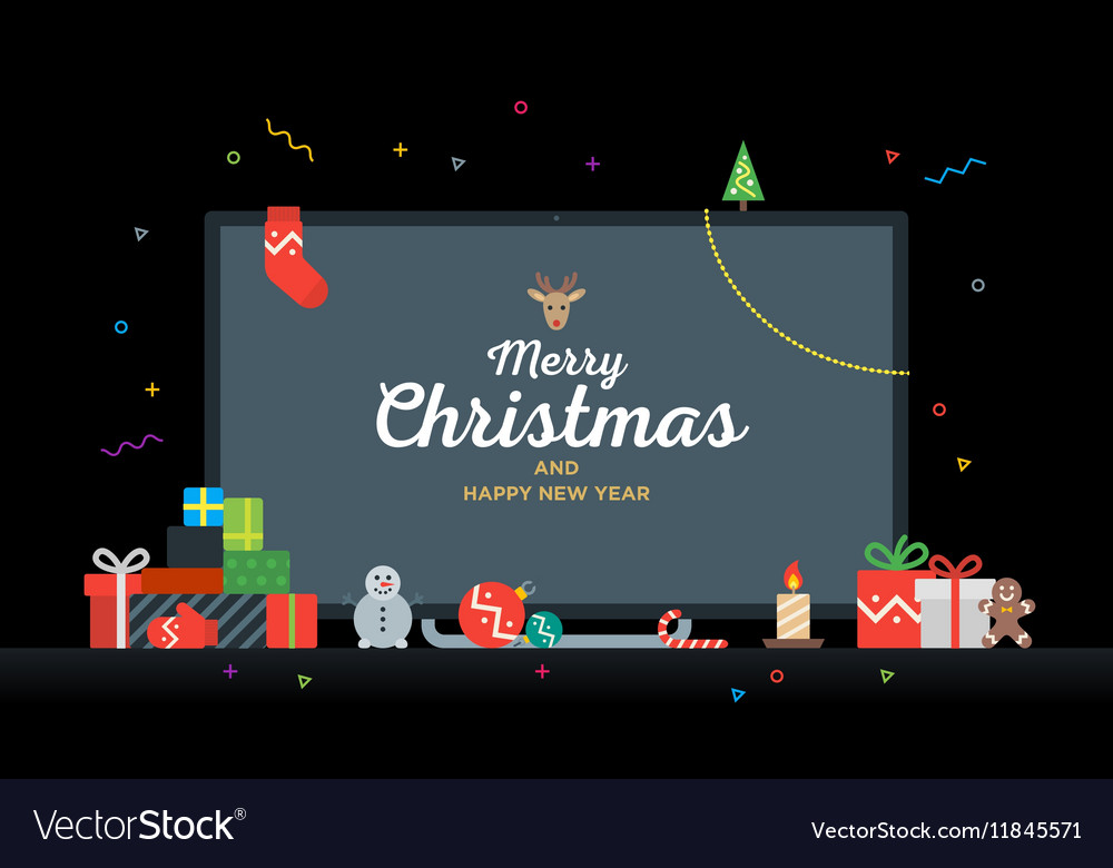 TV with Congratulatory text Merry Christmas and vector image