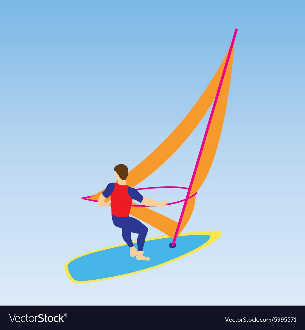 Windsurfer on a board for windsurfing