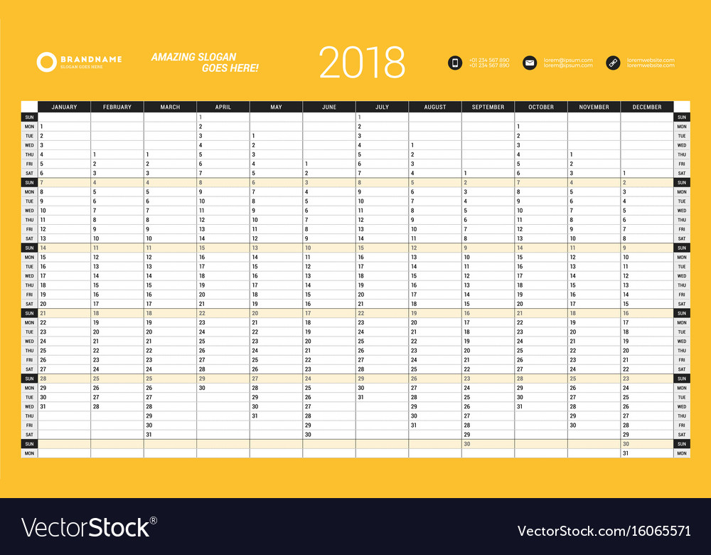 Yearly wall calendar planner template for 2017