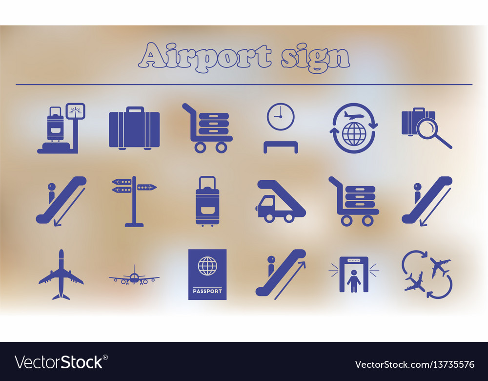 Airport icons collection of airport signs travel