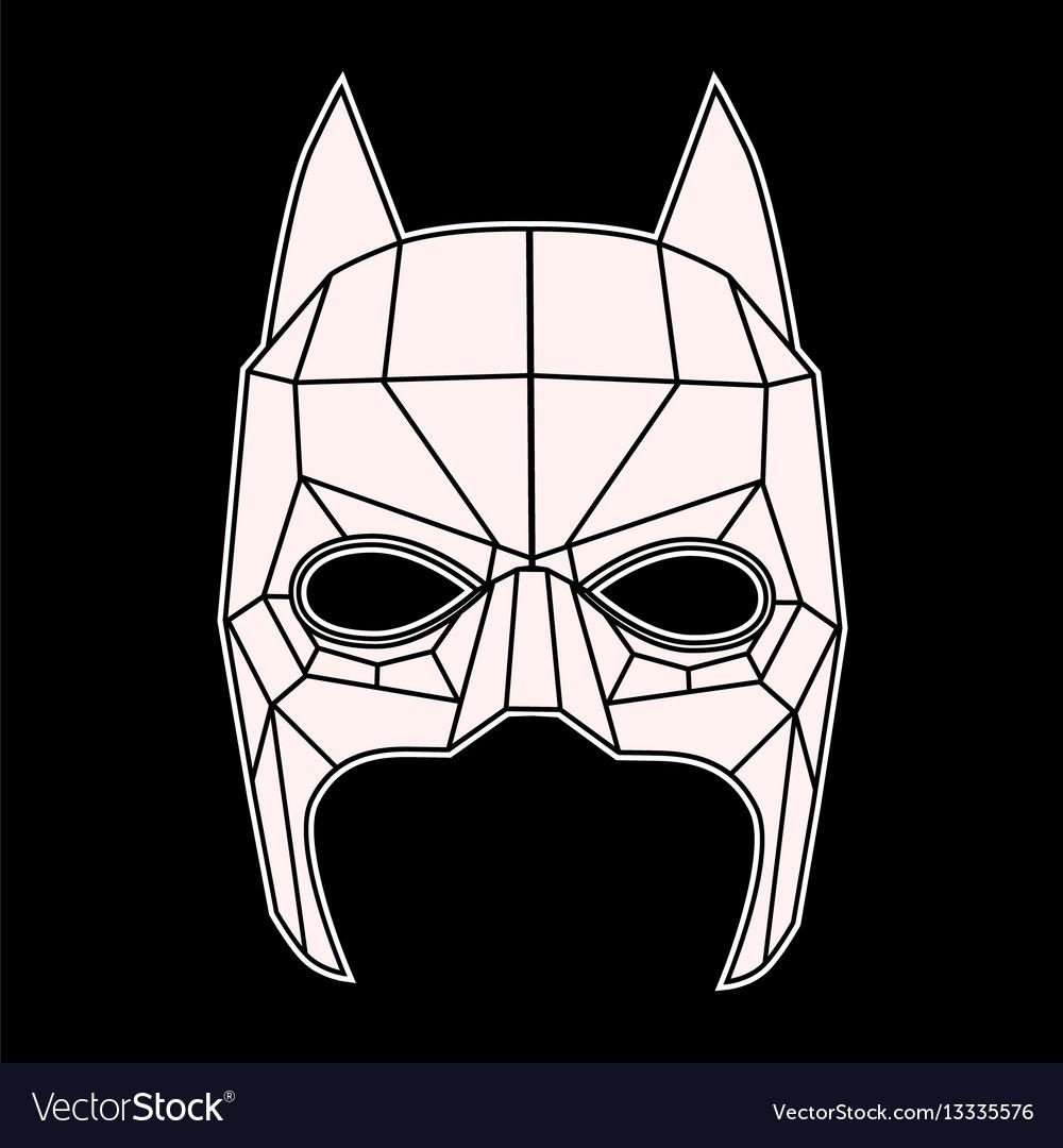 Batman mask black and white symbol triangles