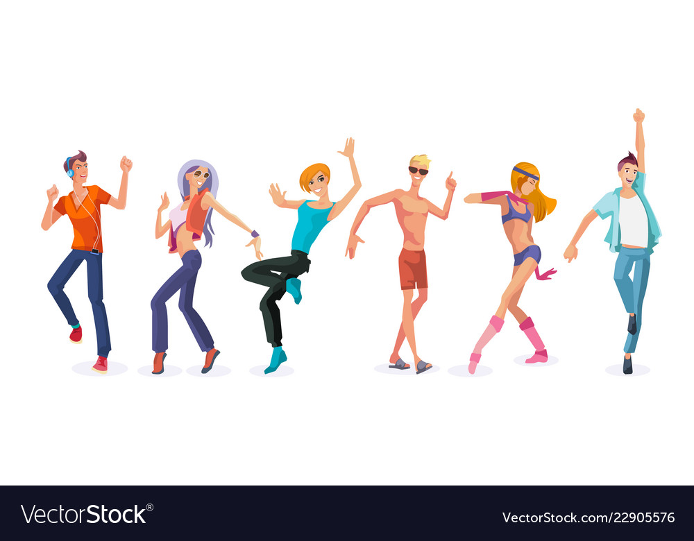 Beautiful dancing people in modern dances