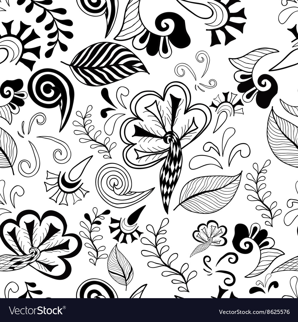Black-white floral magic seamless pattern