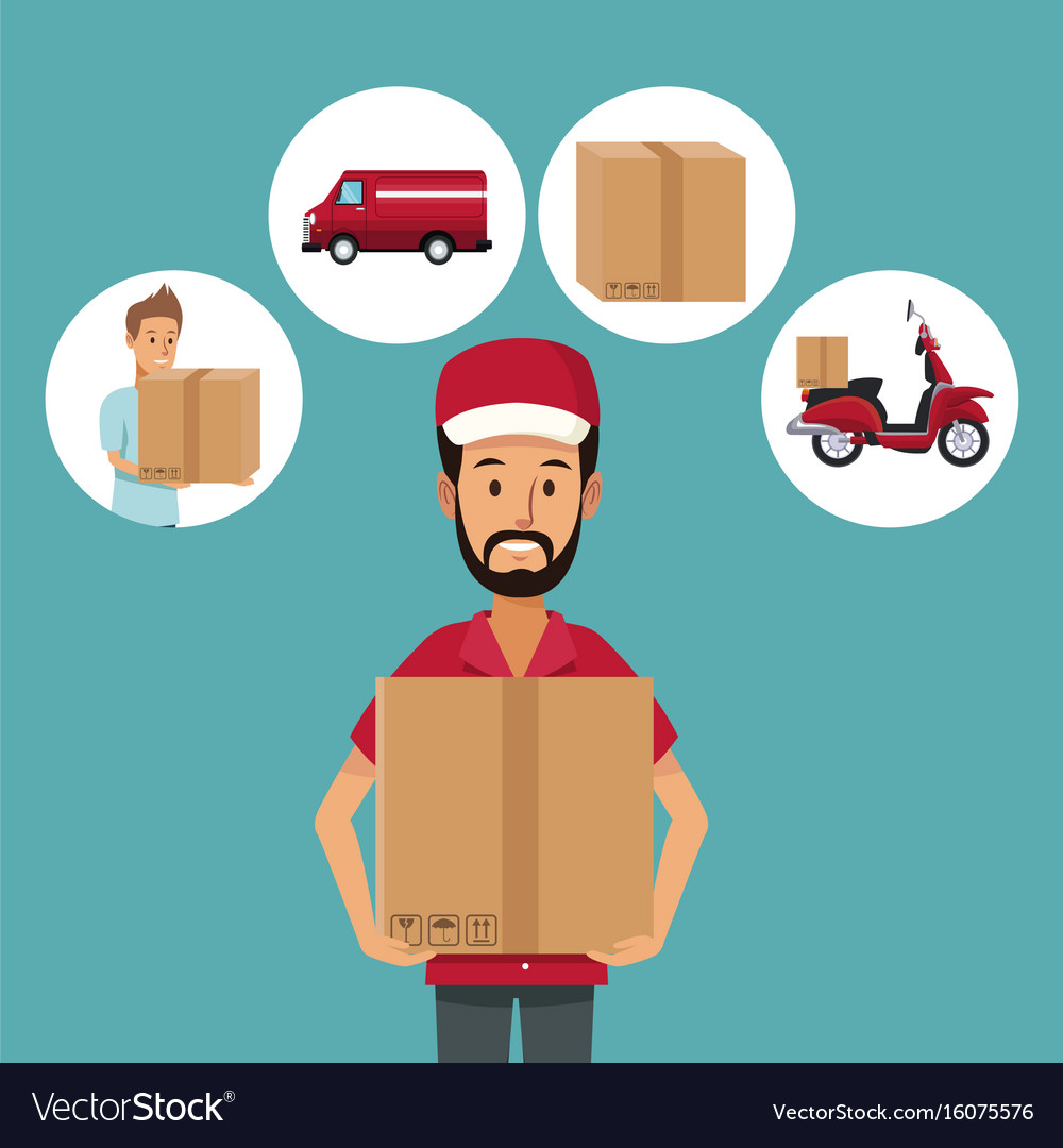 Color background with half body man worker with vector image