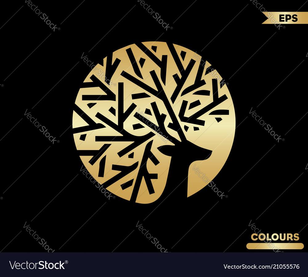 Deer gold logo vector image