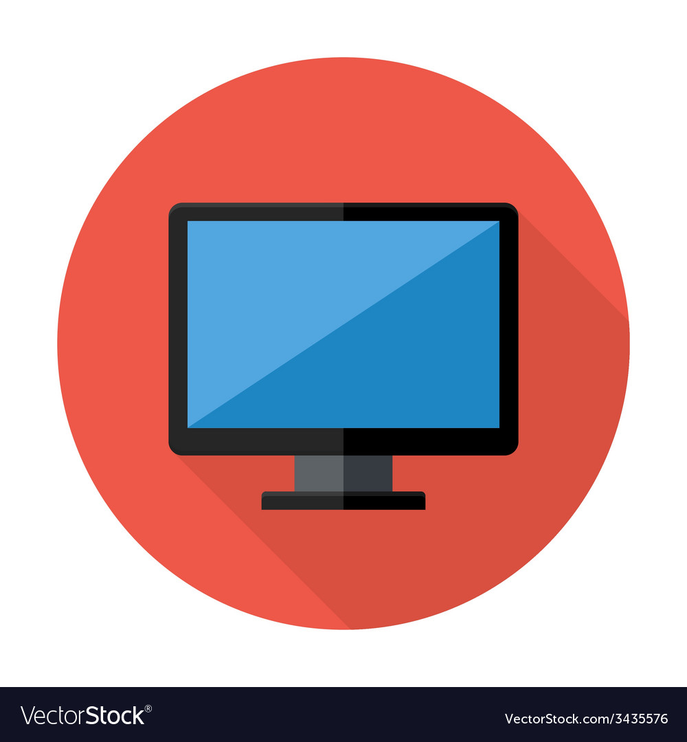 desktop flat circle icon royalty free vector image rh vectorstock com computer icon vector free computer arrow icon vector