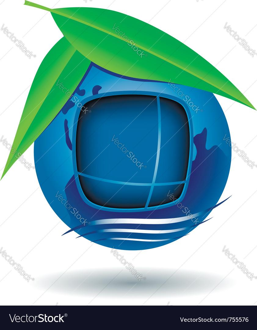 Globe house icon