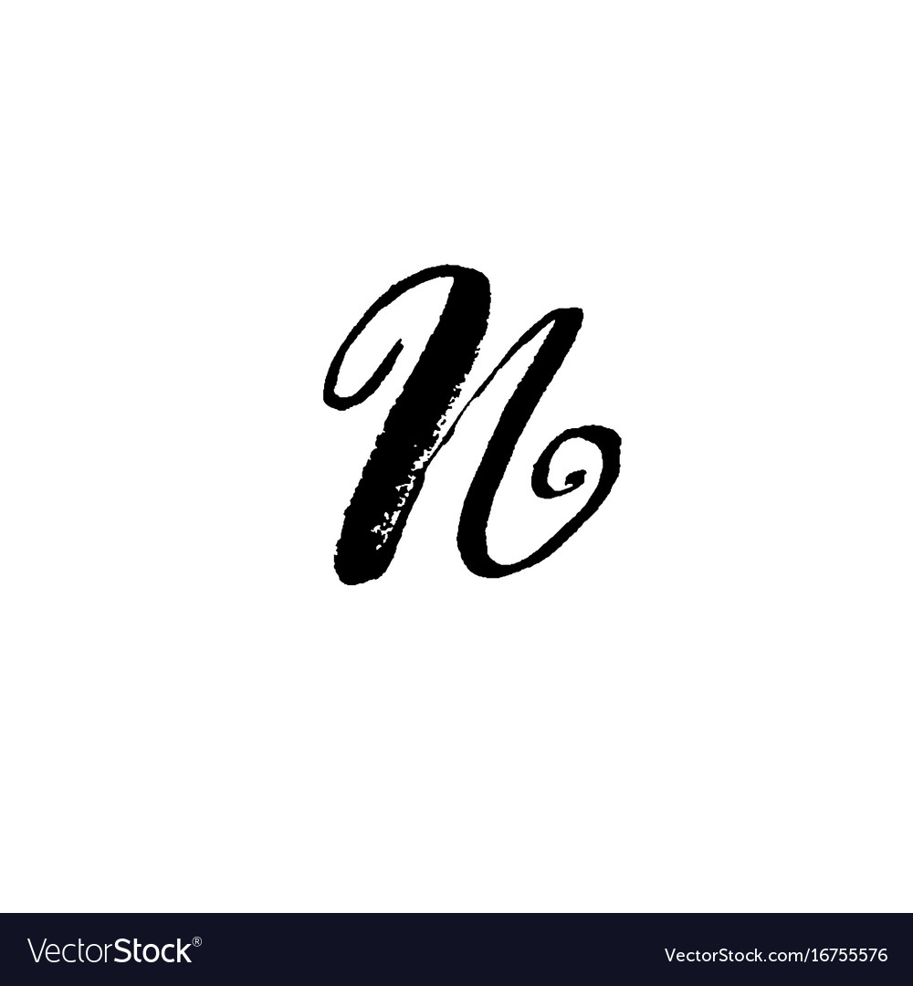 Letter n handwritten by dry brush rough strokes vector image