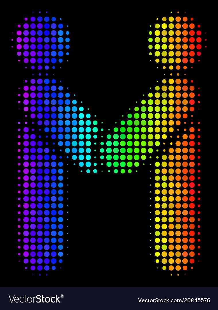 Rainbow colored pixel persons handshake icon