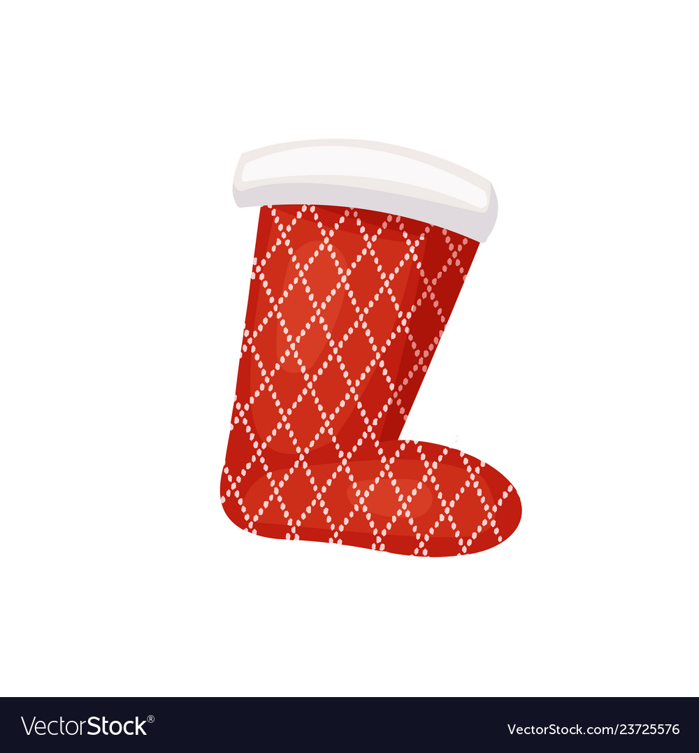 Santa sock with pattern of cross over points