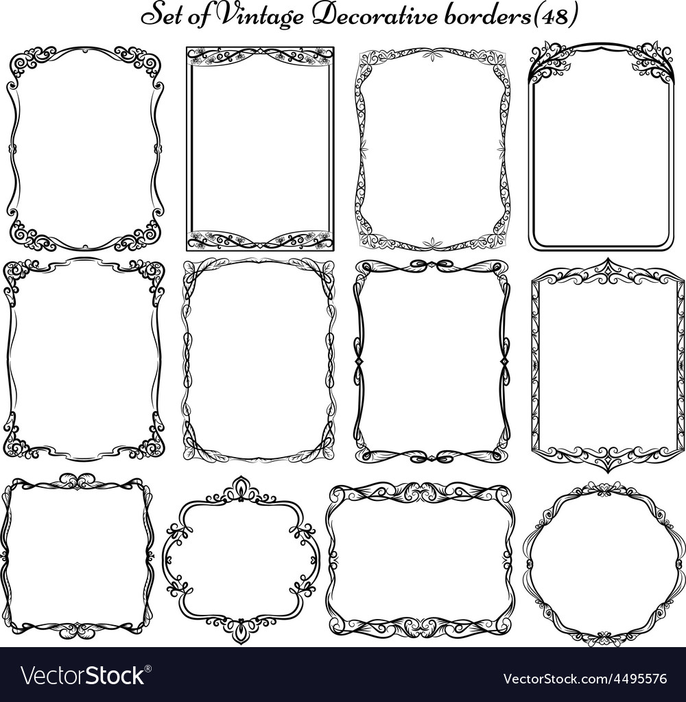 set of vintage borders and elements royalty free vector