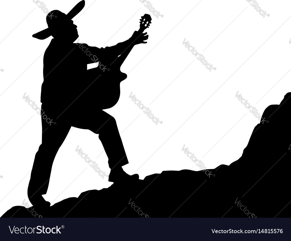 Silhouette of a mexican musician playing serenade