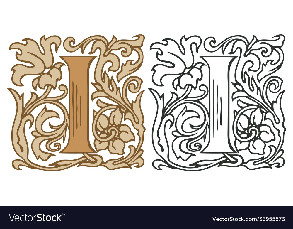 Vintage initial letter i with baroque decoration