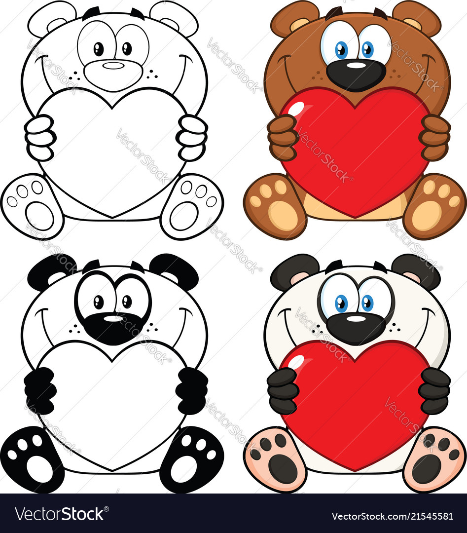 Bear and panda cartoon characters collection set