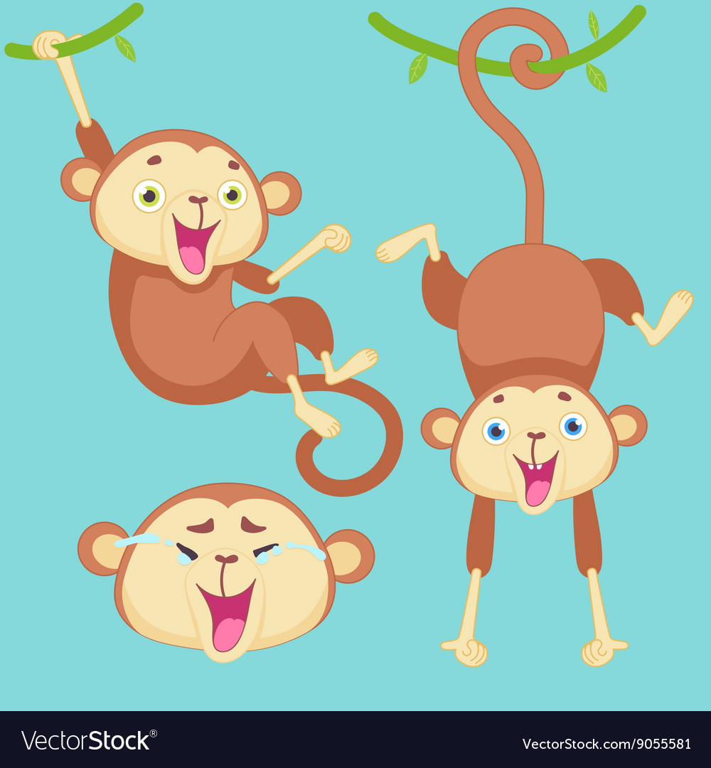 Cartoon monkey with emotions
