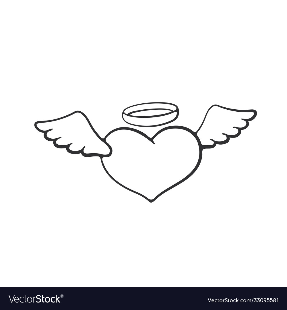 Doodle angel heart with wings
