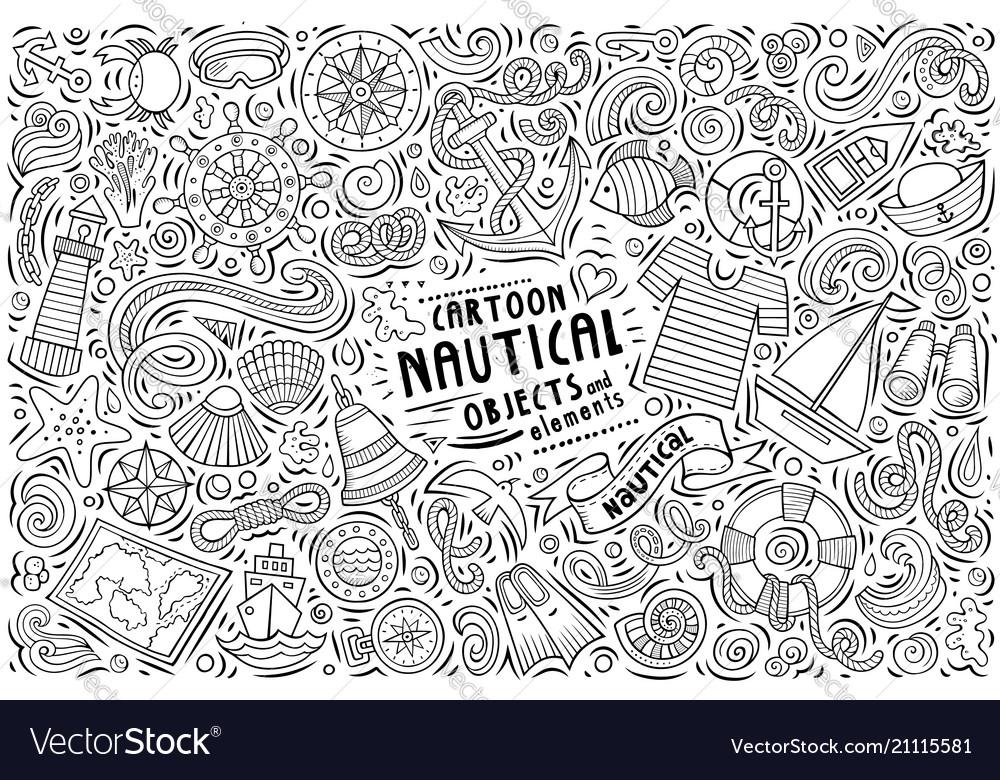Doodle cartoon set of nautical objects