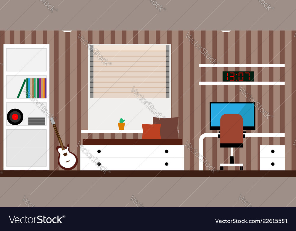 Interior room with a bed a computer desk a